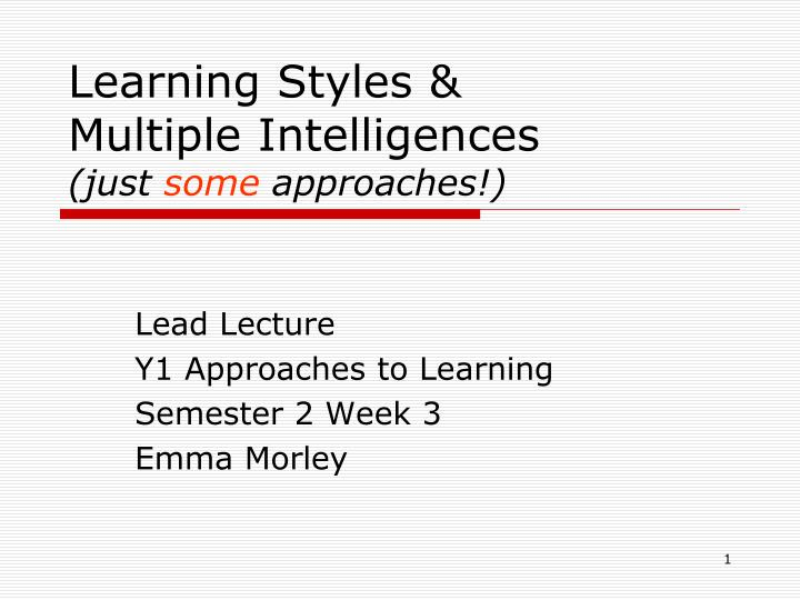 learning styles multiple intelligences just some approaches n.