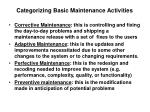 categorizing basic maintenance activities