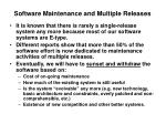 software maintenance and multiple releases