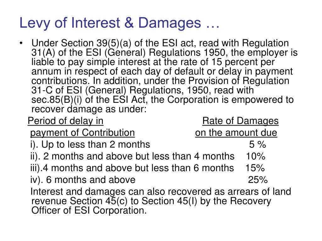 Levy of Interest & Damages …