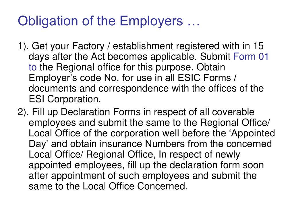 Obligation of the Employers …