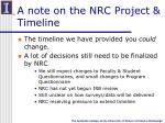 a note on the nrc project timeline