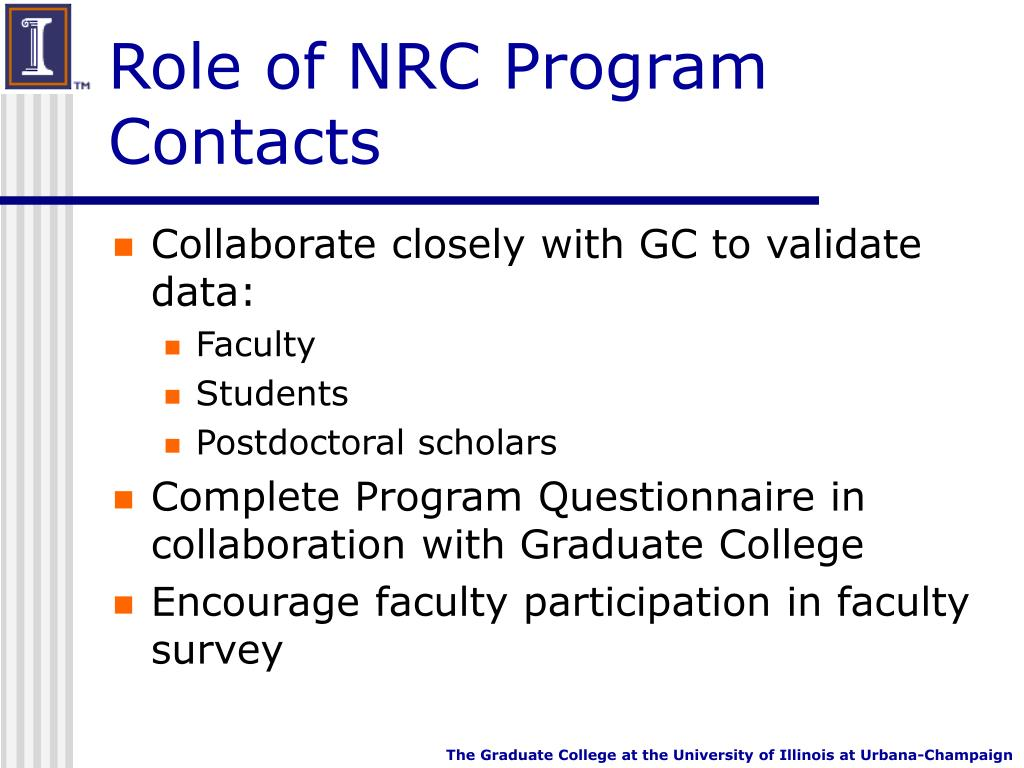 Role of NRC Program Contacts