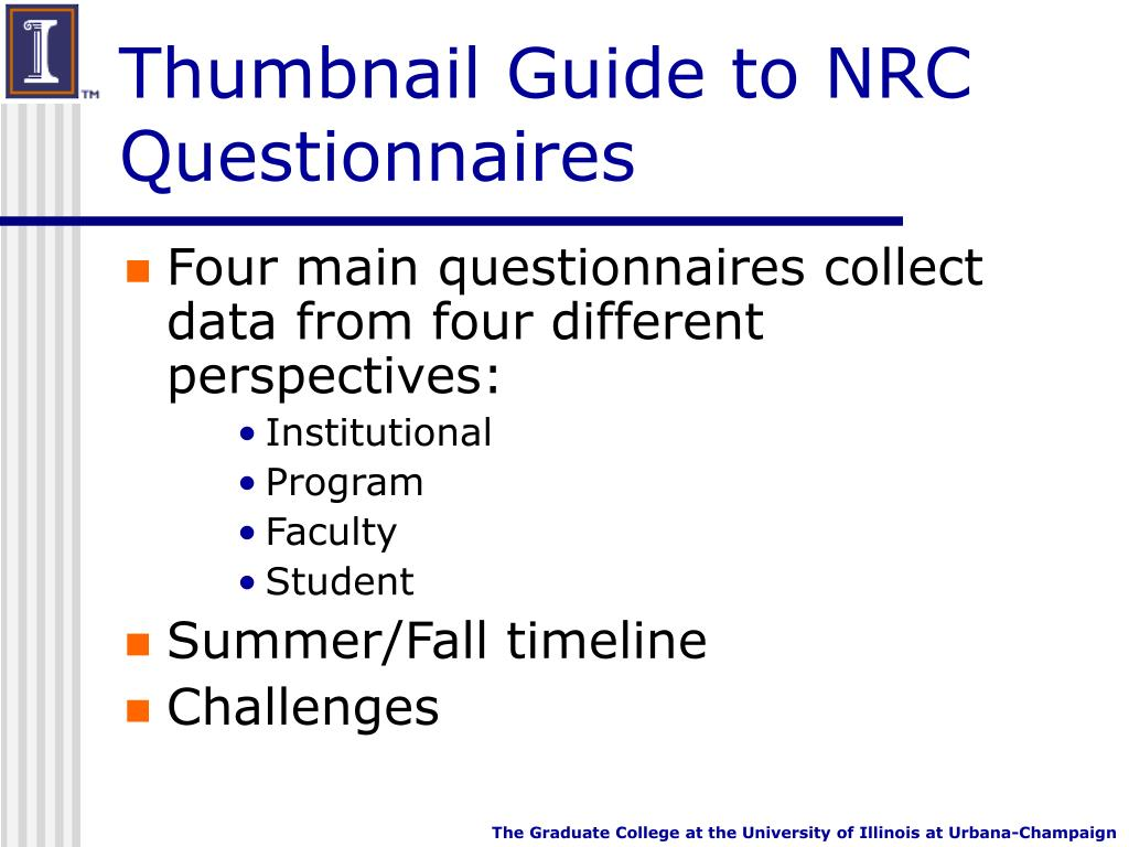 Thumbnail Guide to NRC Questionnaires