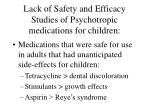 lack of safety and efficacy studies of psychotropic medications for children1