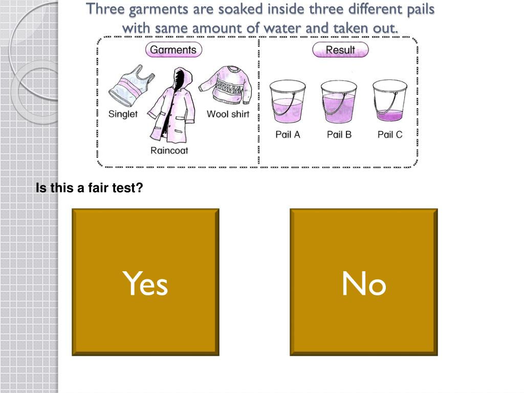 Three garments are soaked inside three different pails