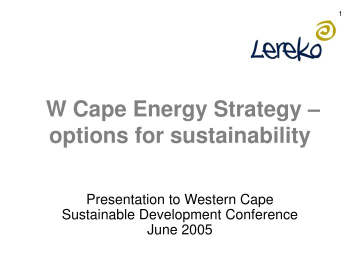 w cape energy strategy options for sustainability n.