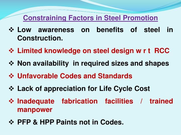 Constraining Factors in Steel Promotion