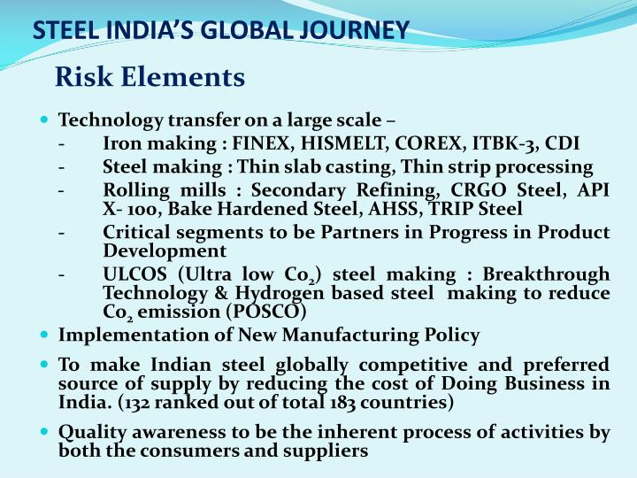 STEEL INDIA'S GLOBAL JOURNEY