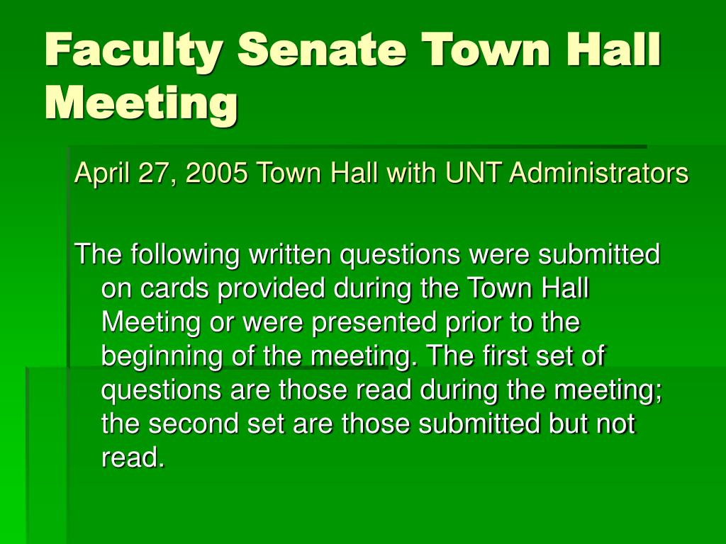 faculty senate town hall meeting l.