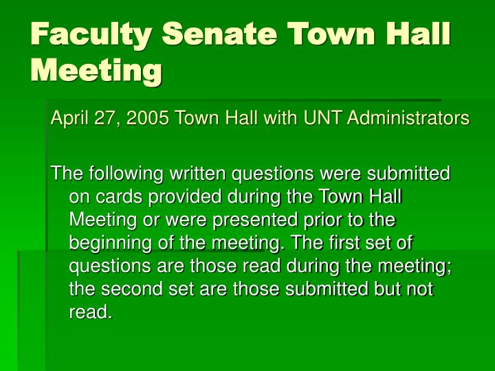 faculty senate town hall meeting n.