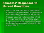 panelists responses to unread questions