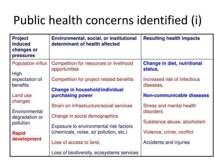 Public health concerns identified (i)
