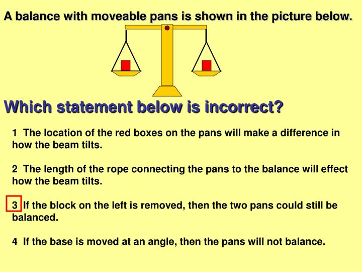 A balance with moveable pans is shown in the picture below.