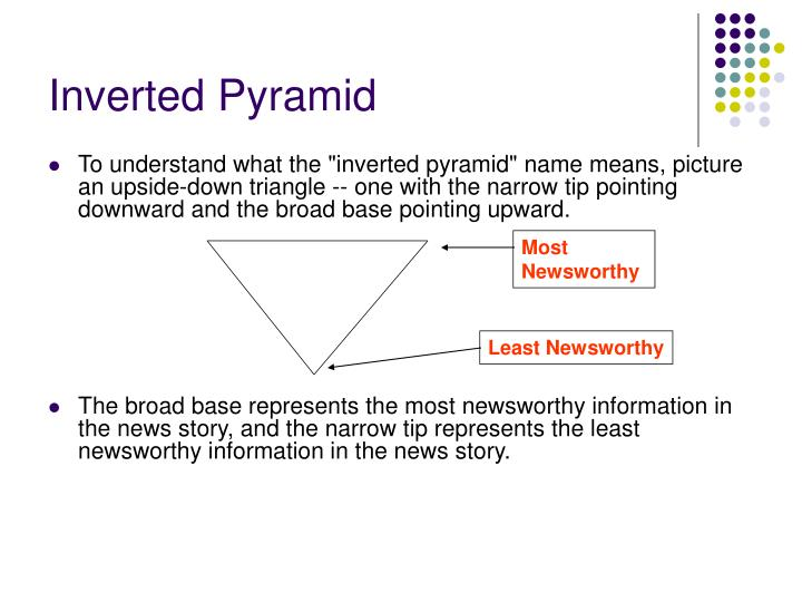 essay writing inverted pyramid Notice how the inverted pyramid is the opposite of essay writing essay writing requires the student to start with an introduction and build toward a conclusion instead, the journalist makes his or her point and then proceeds to explain it.