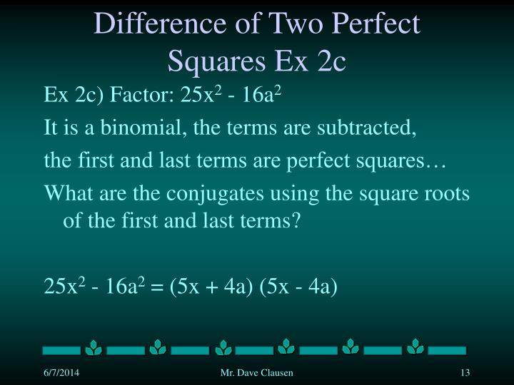 Difference of Two Perfect Squares Ex 2c