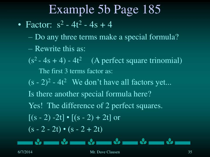 Example 5b Page 185