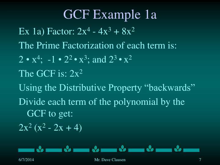 GCF Example 1a