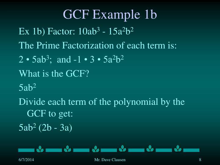 GCF Example 1b