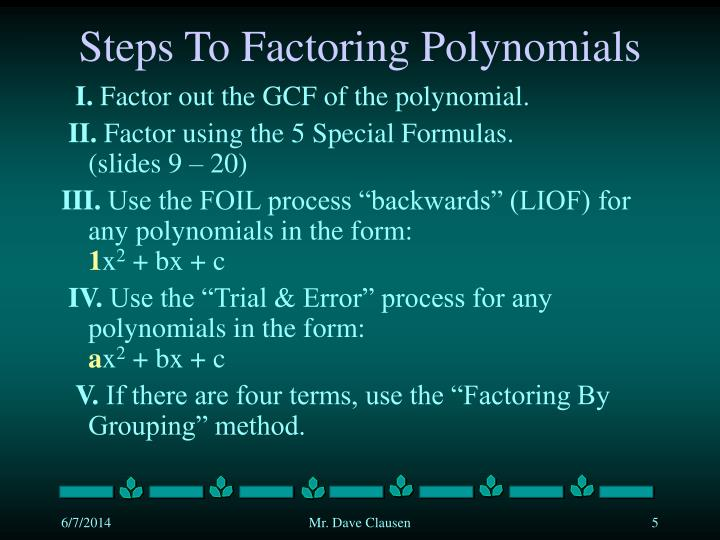 Steps To Factoring Polynomials