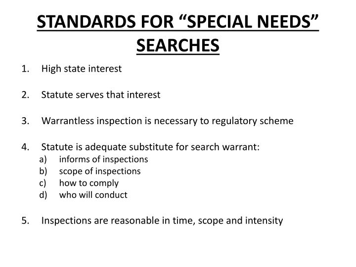 "STANDARDS FOR ""SPECIAL NEEDS"