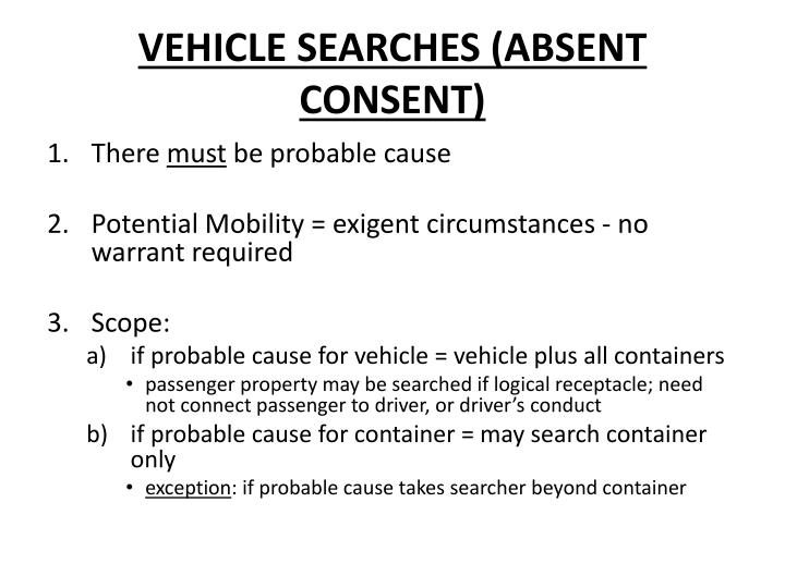 VEHICLE SEARCHES (ABSENT CONSENT)