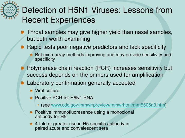 Detection of H5N1 Viruses: Lessons from Recent Experiences