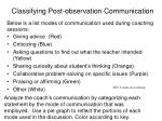 classifying post observation communication