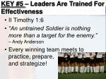 key 5 leaders are trained for effectiveness