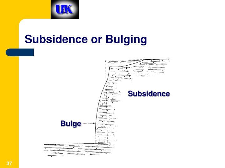 Subsidence or Bulging