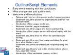 outline script elements