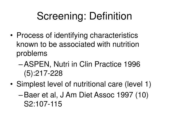 Screening: Definition