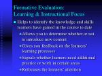 formative evaluation learning instructional focus