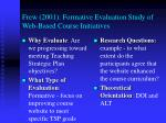 frew 2001 formative evaluation study of web based course initiatives