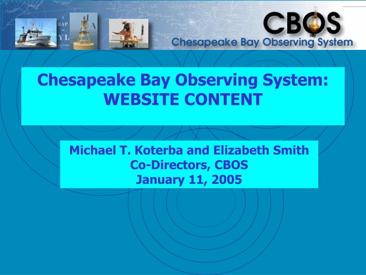 chesapeake bay observing system website content n.