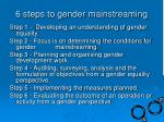 6 steps to gender mainstreaming