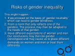 risks of gender inequality