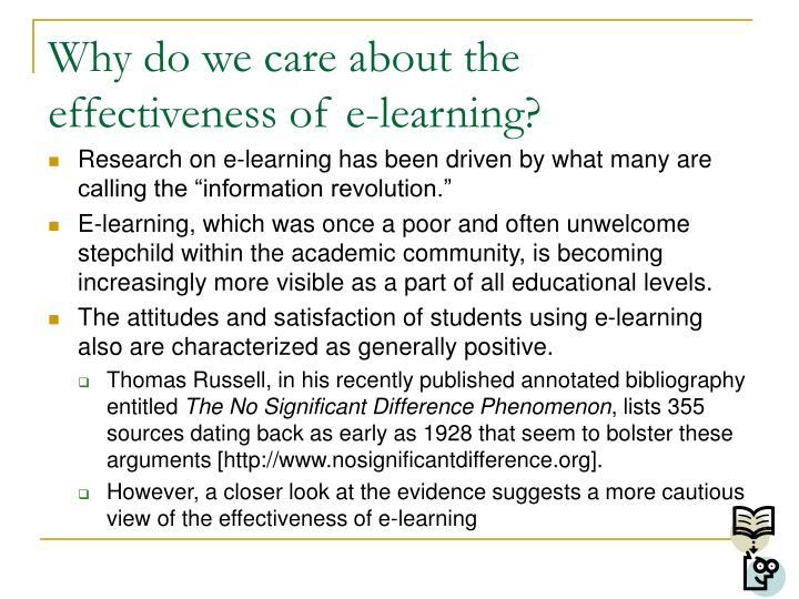 Why do we care about the effectiveness of e learning