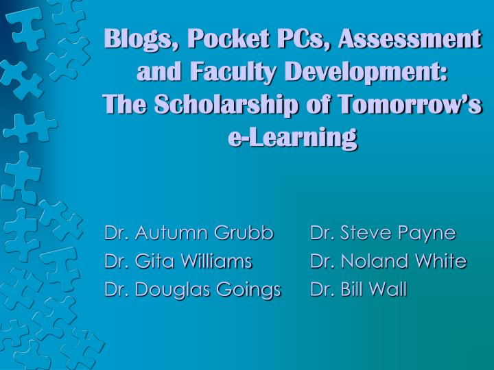 blogs pocket pcs assessment and faculty development the scholarship of tomorrow s e learning n.