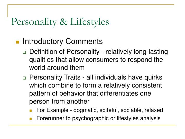 Personality lifestyles