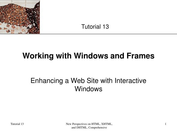 working with windows and frames n.