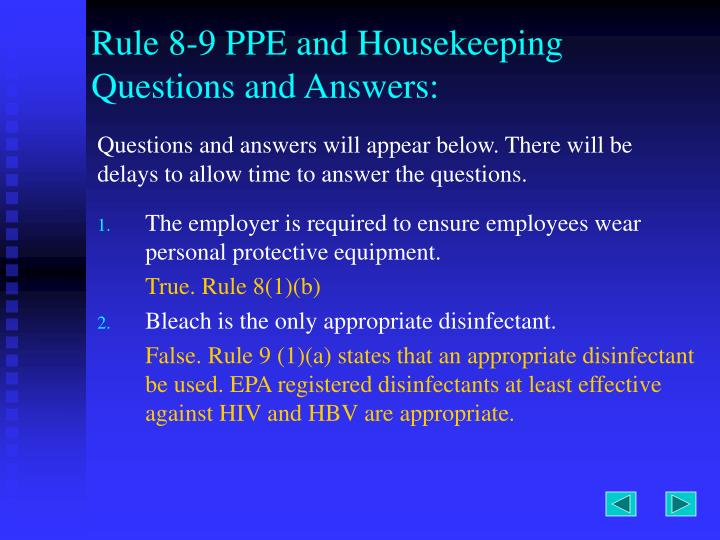 Rule 8-9 PPE and Housekeeping