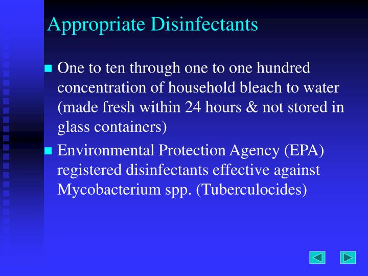 Appropriate Disinfectants