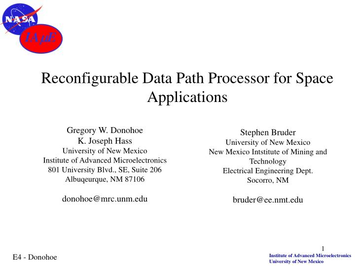 reconfigurable data path processor for space applications n.