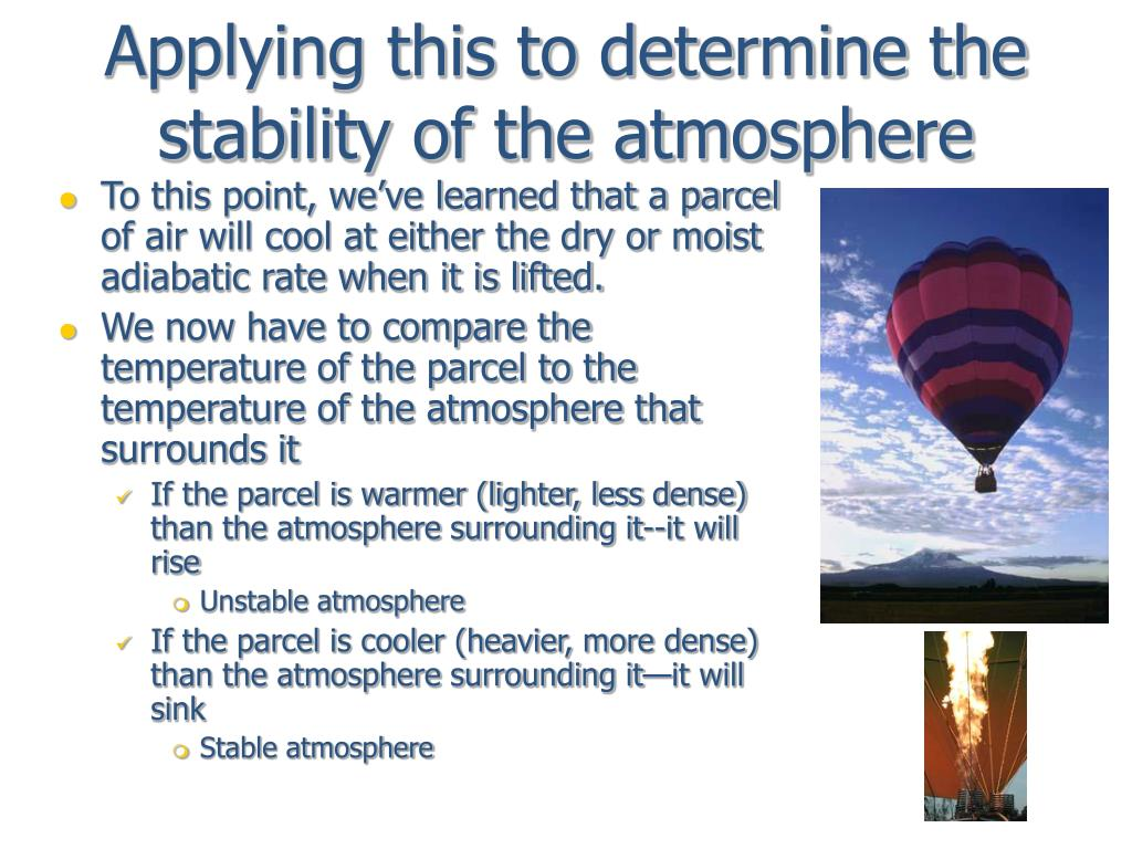 Applying this to determine the stability of the atmosphere