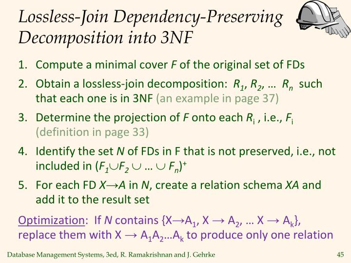 Lossless-Join Dependency-Preserving Decomposition into 3NF