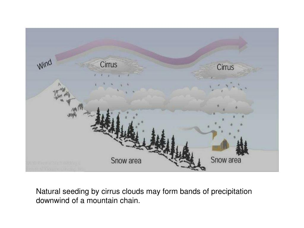 Natural seeding by cirrus clouds may form bands of precipitation downwind of a mountain chain.