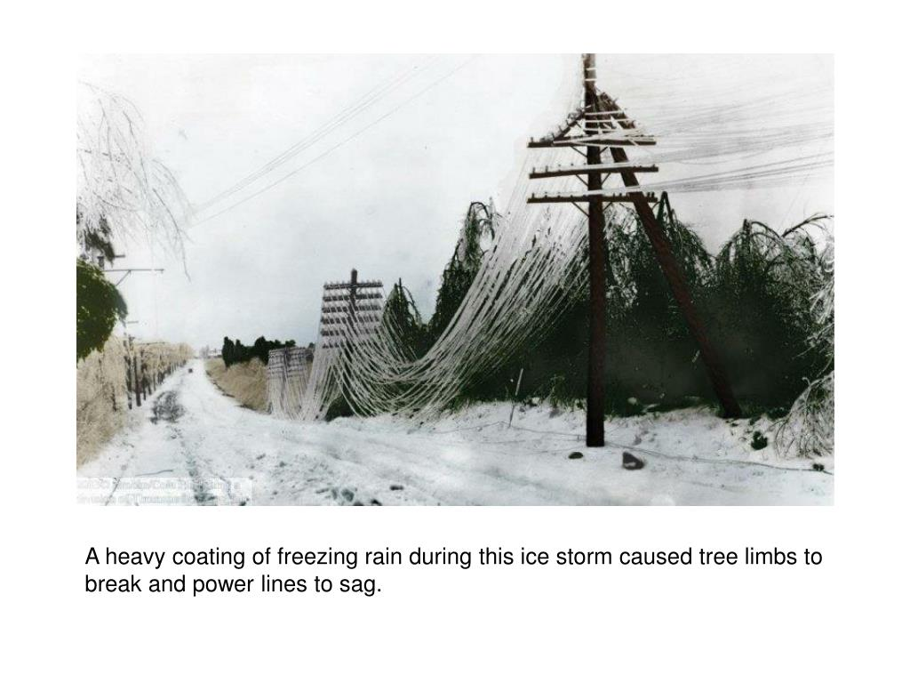 A heavy coating of freezing rain during this ice storm caused tree limbs to break and power lines to sag.