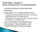 david apter chapter 2 some characteristics of modernization