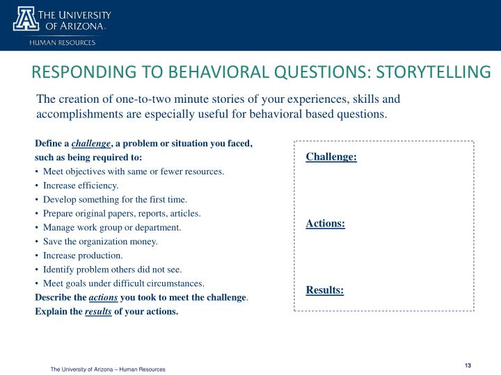 RESPONDING TO BEHAVIORAL QUESTIONS: STORYTELLING